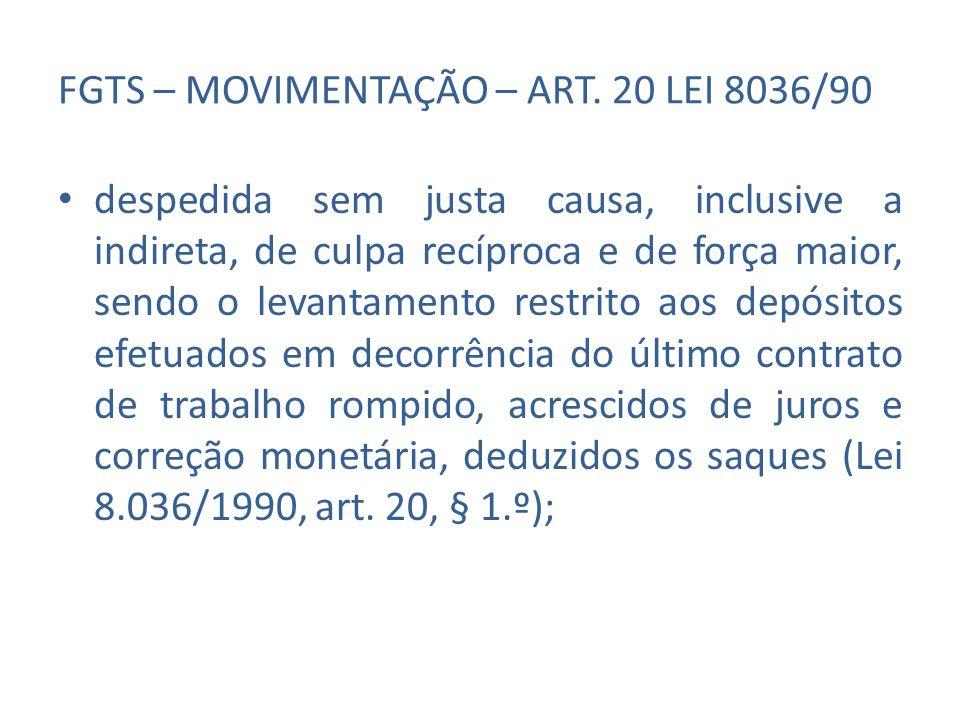 FGTS – MOVIMENTAÇÃO – ART. 20 LEI 8036/90 despedida sem justa causa, inclusive a indireta, de culpa recíproca e de força maior, sendo o levantamento r