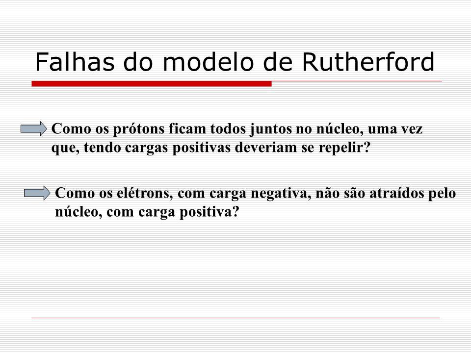 Falhas do modelo de Rutherford Como os prótons ficam todos juntos no núcleo, uma vez que, tendo cargas positivas deveriam se repelir? Como os elétrons