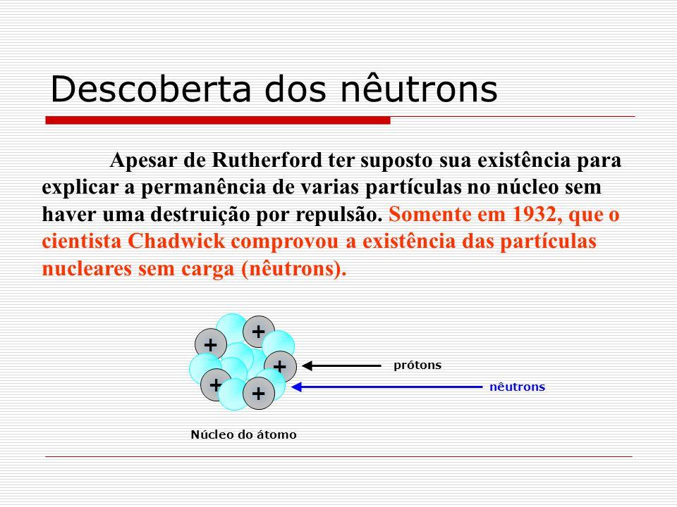 Descoberta dos nêutrons Apesar de Rutherford ter suposto sua existência para explicar a permanência de varias partículas no núcleo sem haver uma destr