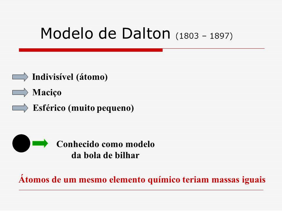 Modelo de Dalton (1803 – 1897) Indivisível (átomo) Maciço Esférico (muito pequeno) Conhecido como modelo da bola de bilhar Átomos de um mesmo elemento