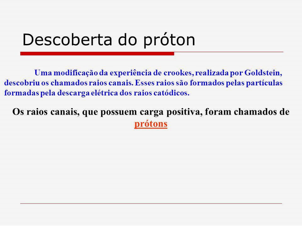 Descoberta do próton Uma modificação da experiência de crookes, realizada por Goldstein, descobriu os chamados raios canais. Esses raios são formados