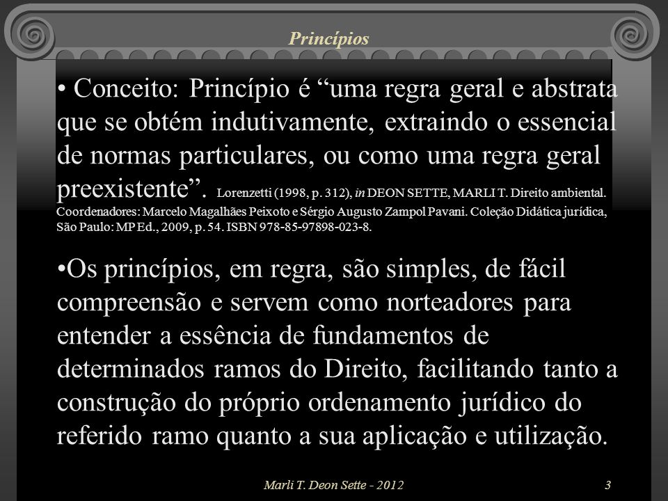 Princípios Os princípios a seguir relacionados são aqueles que possuem mais relevância no direito ambiental, mas não esgotam o rol de princípios inerentes ao mencionado ramo de direito.