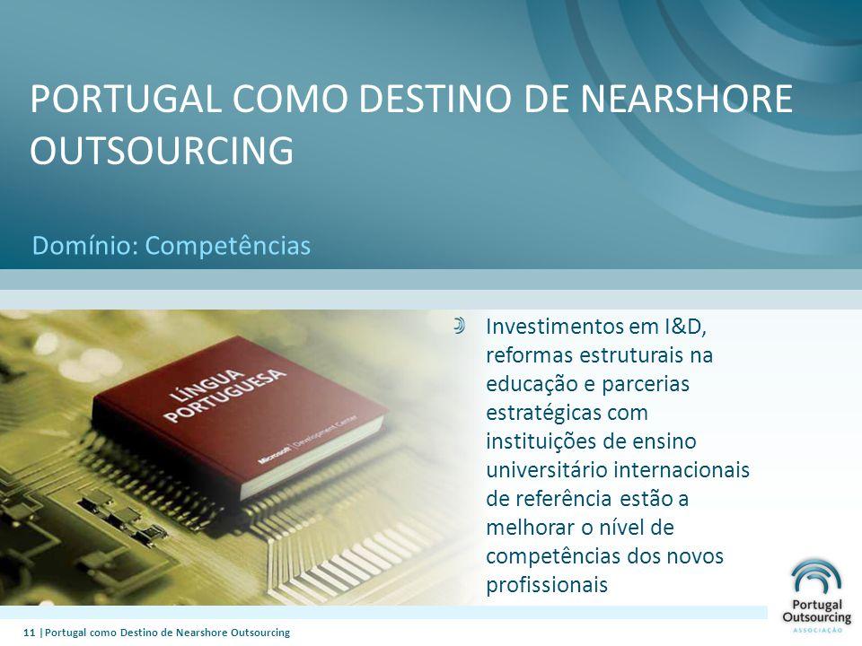 11 |Portugal como Destino de Nearshore Outsourcing Domínio: Competências PORTUGAL COMO DESTINO DE NEARSHORE OUTSOURCING Investimentos em I&D, reformas
