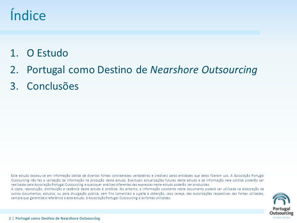 PORTUGAL OUTSOURCING A Associação e os seus objectivos A Portugal Outsourcing é uma Associação, sem fins lucrativos, das empresas fornecedoras de serviços de Outsourcing Tem como objectivo central promover a adopção do Outsourcing de serviços envolvendo as TIC com os objectivos de: – Aumentar a sofisticação dos sectores com que trabalhamos; – Promover o crescimento da economia Portuguesa e do seu potencial exportador e, – Contribuir para o reequilíbrio regional do País.