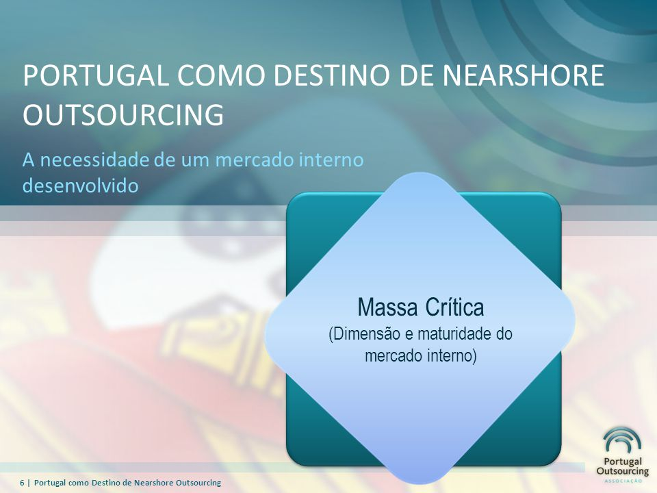 7  Portugal como Destino de Nearshore Outsourcing PORTUGAL COMO DESTINO DE NEARSHORE OUTSOURCING Domínio: País Portugal está entre os 5 Países Europeus que mais subiu em 2009, nos índices de competitividade