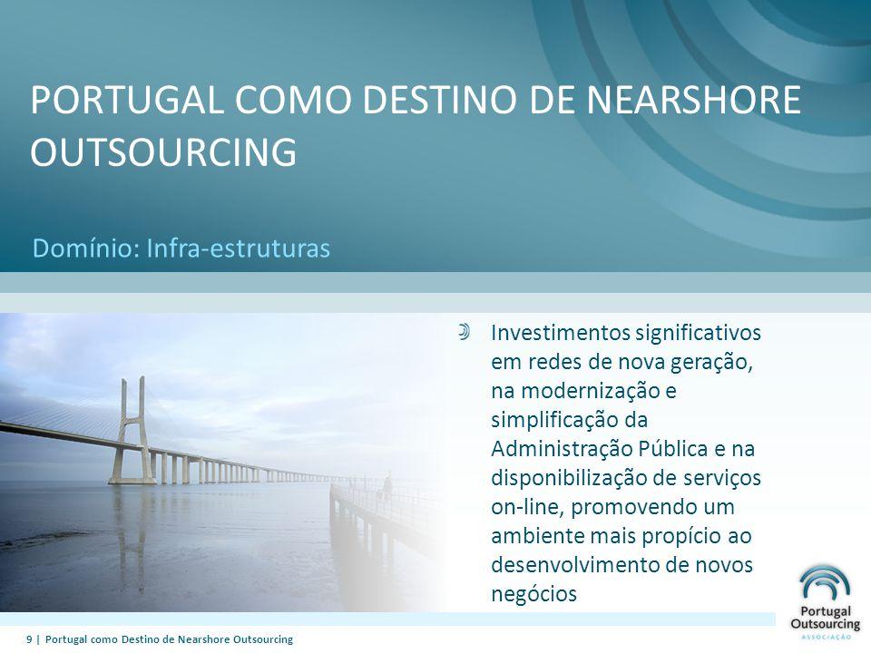 9 |Portugal como Destino de Nearshore Outsourcing PORTUGAL COMO DESTINO DE NEARSHORE OUTSOURCING Domínio: Infra-estruturas Investimentos significativo