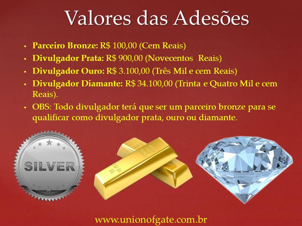 Parceiro Bronze: R$ 100,00 (Cem Reais) Divulgador Prata: R$ 900,00 (Novecentos Reais) Divulgador Ouro: R$ 3.100,00 (Três Mil e cem Reais) Divulgador D