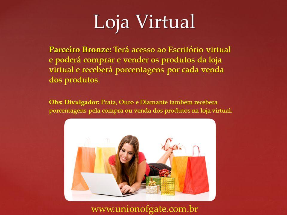 Parceiro Bronze: Parceiro Bronze: Terá acesso ao Escritório virtual e poderá comprar e vender os produtos da loja virtual e receberá porcentagens por