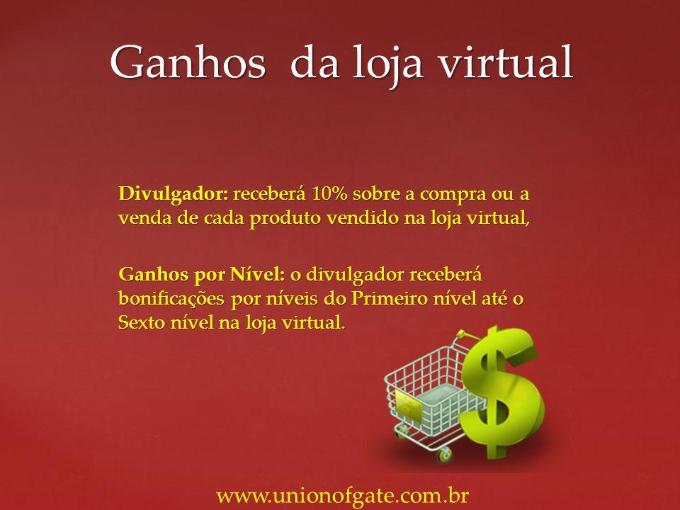 Divulgador: receberá 10% sobre a compra ou a venda de cada produto vendido na loja virtual, Ganhos por Nível: o divulgador receberá bonificações por n