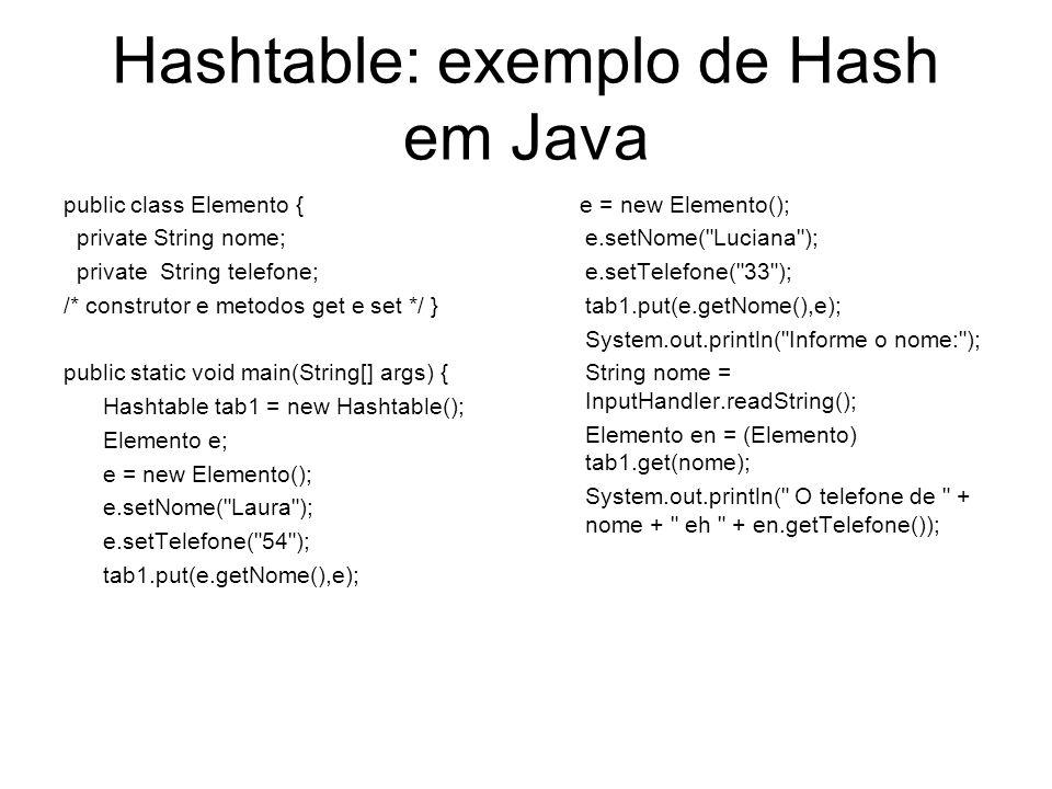 Hashtable: exemplo de Hash em Java public class Elemento { private String nome; private String telefone; /* construtor e metodos get e set */ } public