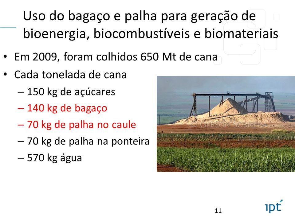 Uso do bagaço e palha para geração de bioenergia, biocombustíveis e biomateriais Em 2009, foram colhidos 650 Mt de cana Cada tonelada de cana – 150 kg de açúcares – 140 kg de bagaço – 70 kg de palha no caule – 70 kg de palha na ponteira – 570 kg água 11