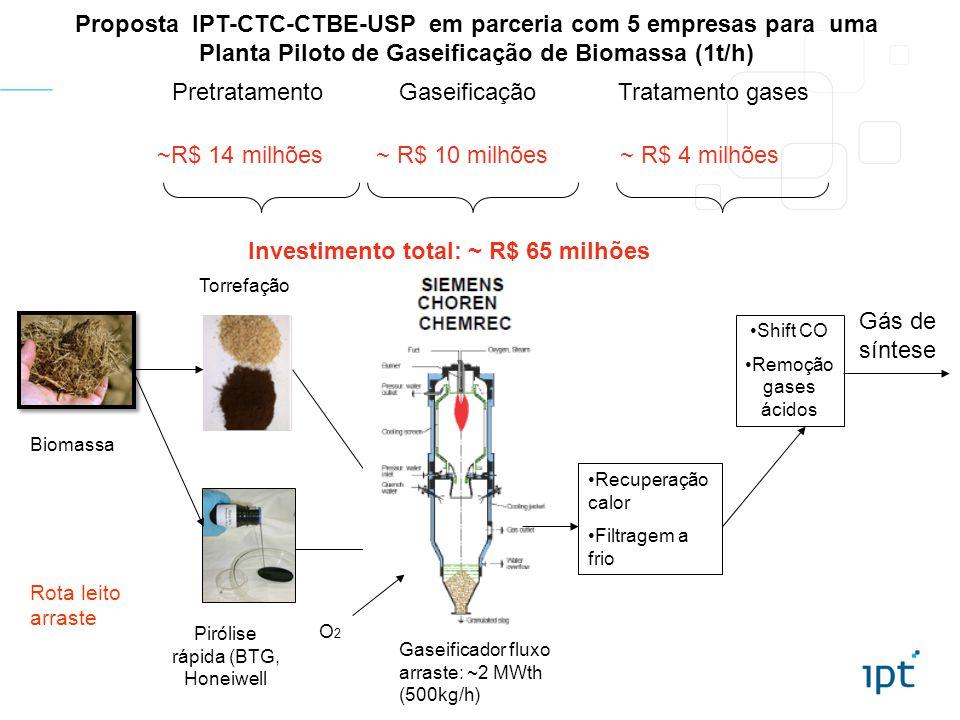 Proposta IPT-CTC-CTBE-USP em parceria com 5 empresas para uma Planta Piloto de Gaseificação de Biomassa (1t/h) Biomassa PretratamentoGaseificaçãoTratamento gases Recuperação calor Filtragem a frio Shift CO Remoção gases ácidos Torrefação Pirólise rápida (BTG, Honeiwell Gaseificador fluxo arraste: ~2 MWth (500kg/h) Gás de síntese Rota leito arraste O2O2 Investimento total: ~ R$ 65 milhões ~ R$ 10 milhões~R$ 14 milhões~ R$ 4 milhões