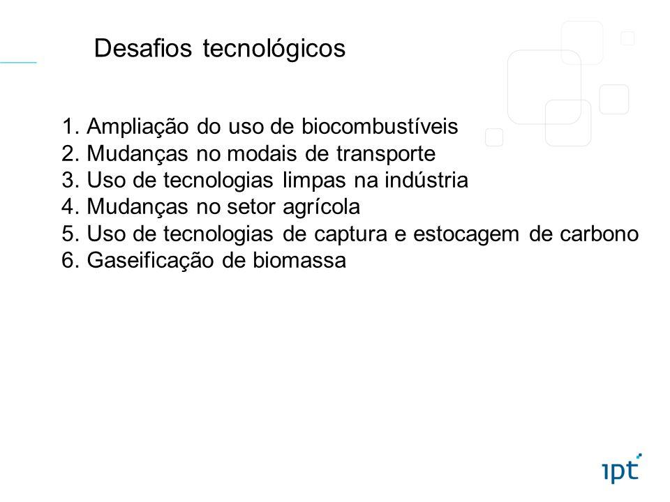 Desafios tecnológicos 1.Ampliação do uso de biocombustíveis 2.Mudanças no modais de transporte 3.Uso de tecnologias limpas na indústria 4.Mudanças no