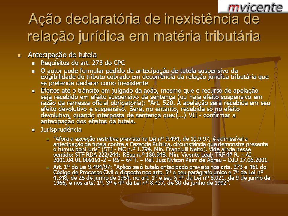 Ação declaratória de inexistência de relação jurídica em matéria tributária Antecipação de tutela Antecipação de tutela Requisitos do art. 273 do CPC