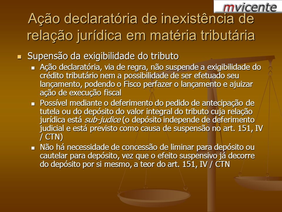 Ação declaratória de inexistência de relação jurídica em matéria tributária Supensão da exigibilidade do tributo Supensão da exigibilidade do tributo