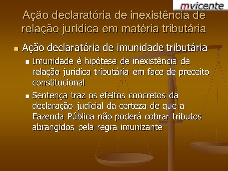 Ação declaratória de inexistência de relação jurídica em matéria tributária Ação declaratória de imunidade tributária Ação declaratória de imunidade t