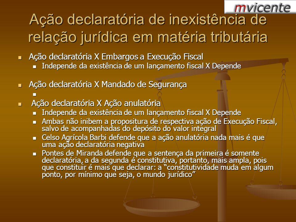 Ação declaratória de inexistência de relação jurídica em matéria tributária Ação declaratória X Embargos a Execução Fiscal Ação declaratória X Embargo
