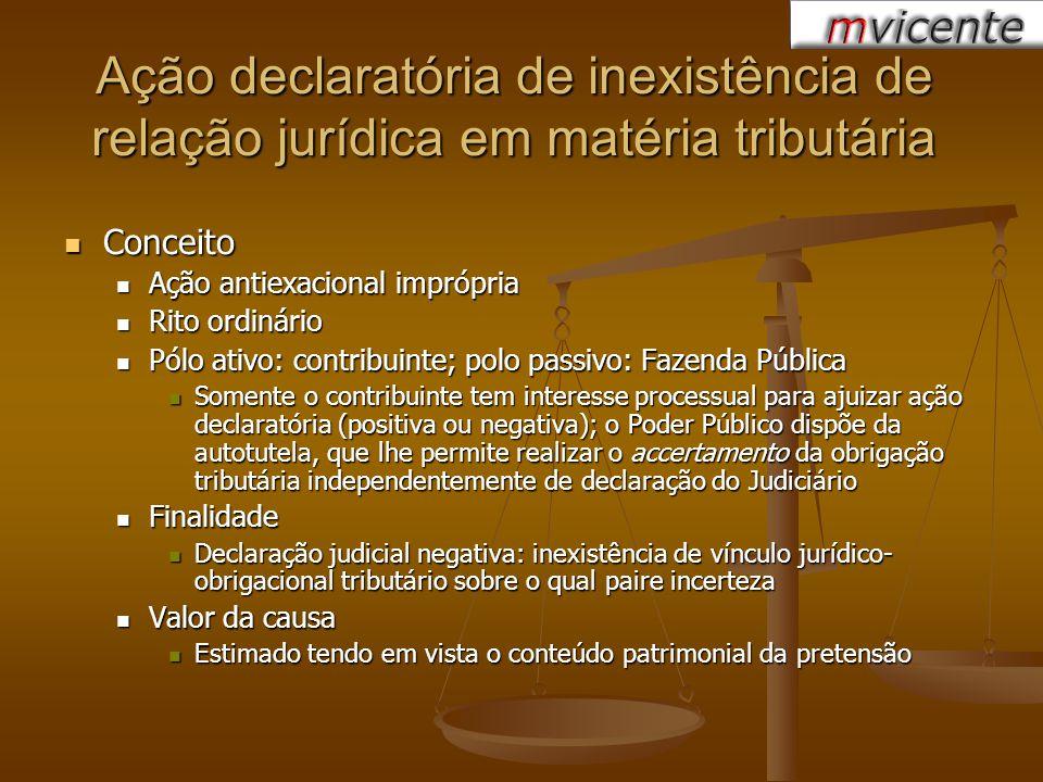Ação declaratória de inexistência de relação jurídica em matéria tributária Conceito Conceito Ação antiexacional imprópria Ação antiexacional imprópri