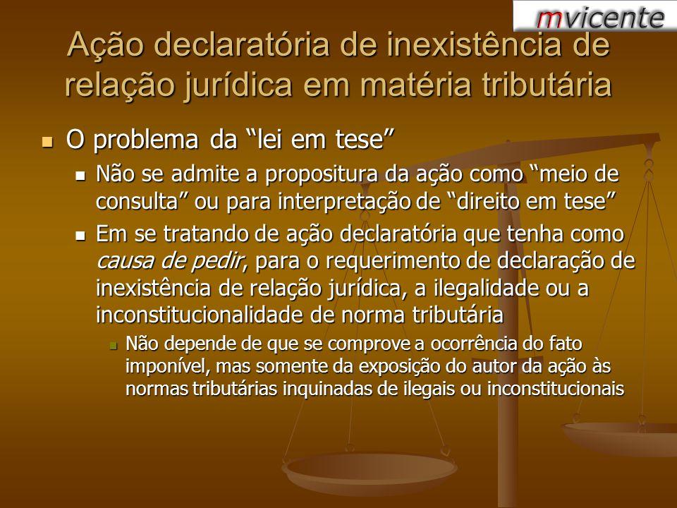 Ação declaratória de inexistência de relação jurídica em matéria tributária O problema da lei em tese O problema da lei em tese Não se admite a propos