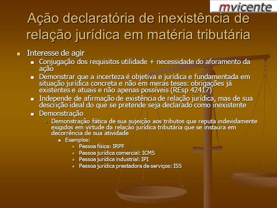Ação declaratória de inexistência de relação jurídica em matéria tributária Interesse de agir Interesse de agir Conjugação dos requisitos utilidade +