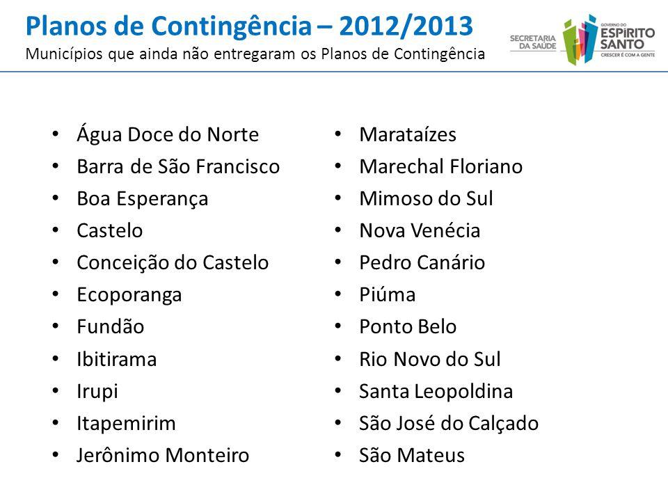 Planos de Contingência – 2012/2013 Municípios que ainda não entregaram os Planos de Contingência Água Doce do Norte Barra de São Francisco Boa Esperan