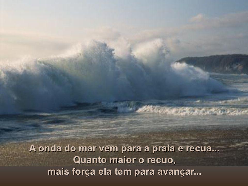 A Natureza nos ensina: - É- É- É- É na queda, que a água transmite energia e se purifica, tornando-se cristalina...