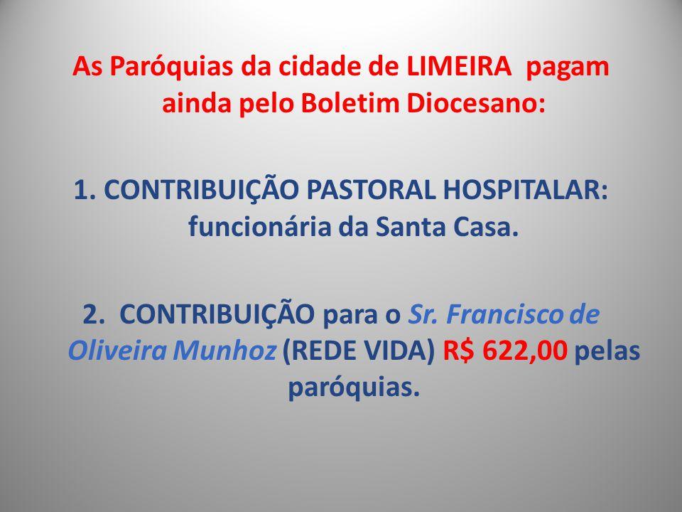 As Paróquias da cidade de LIMEIRA pagam ainda pelo Boletim Diocesano: 1. CONTRIBUIÇÃO PASTORAL HOSPITALAR: funcionária da Santa Casa. 2. CONTRIBUIÇÃO