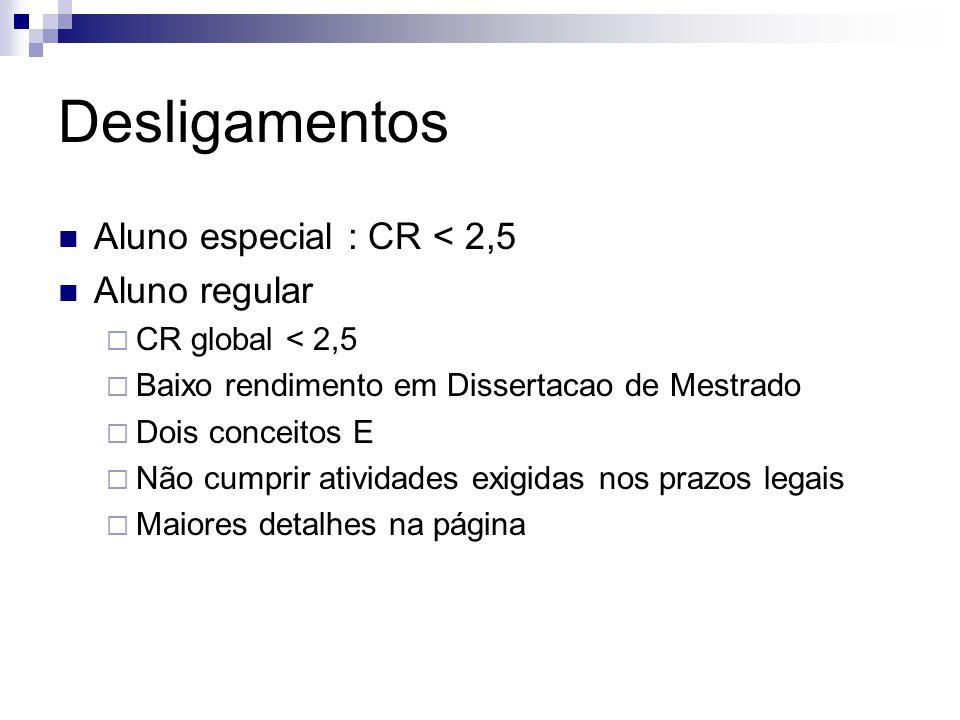 Desligamentos Aluno especial : CR < 2,5 Aluno regular CR global < 2,5 Baixo rendimento em Dissertacao de Mestrado Dois conceitos E Não cumprir ativida