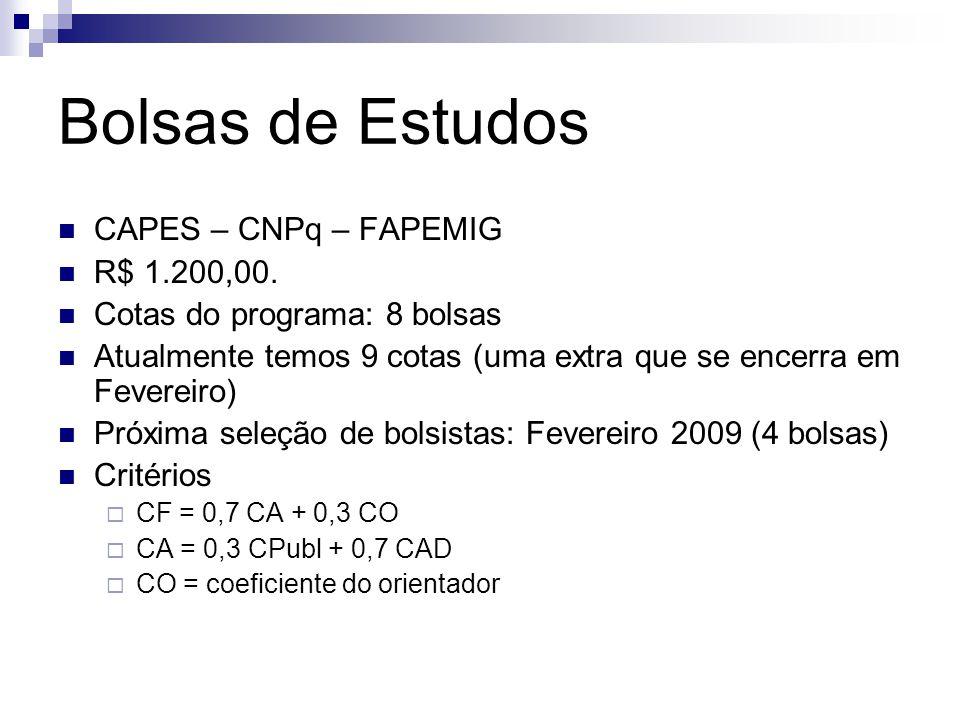 Bolsas de Estudos CAPES – CNPq – FAPEMIG R$ 1.200,00. Cotas do programa: 8 bolsas Atualmente temos 9 cotas (uma extra que se encerra em Fevereiro) Pró