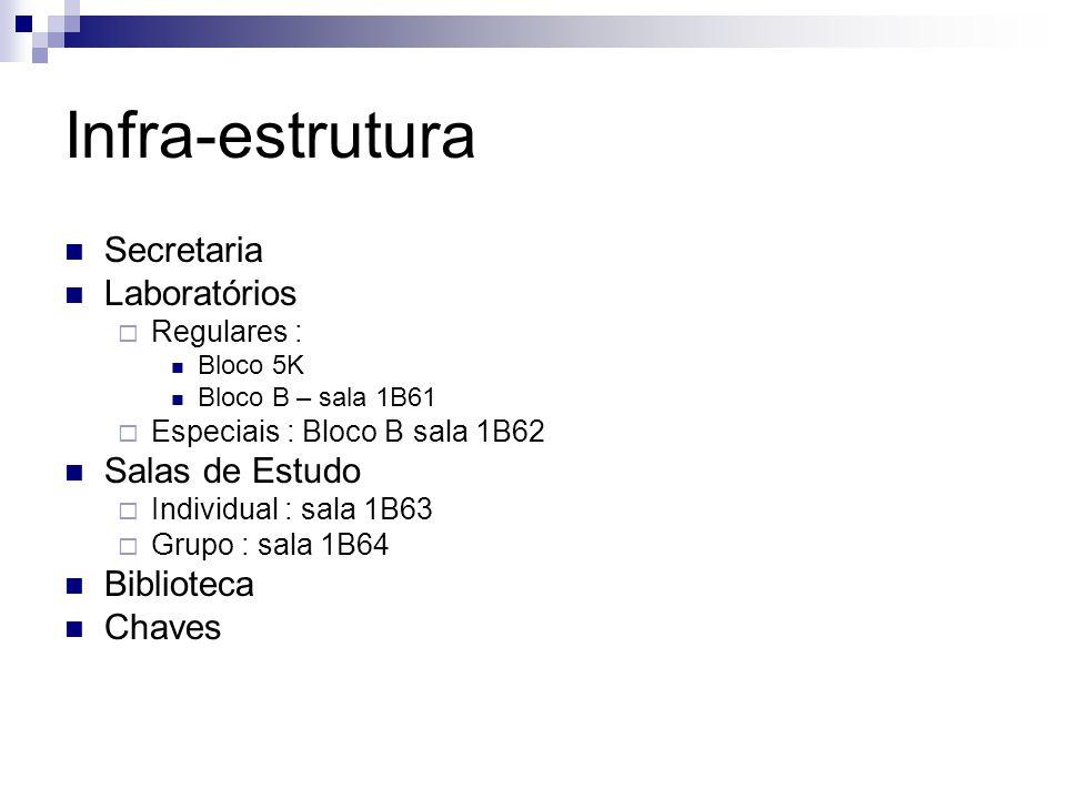 Infra-estrutura Secretaria Laboratórios Regulares : Bloco 5K Bloco B – sala 1B61 Especiais : Bloco B sala 1B62 Salas de Estudo Individual : sala 1B63
