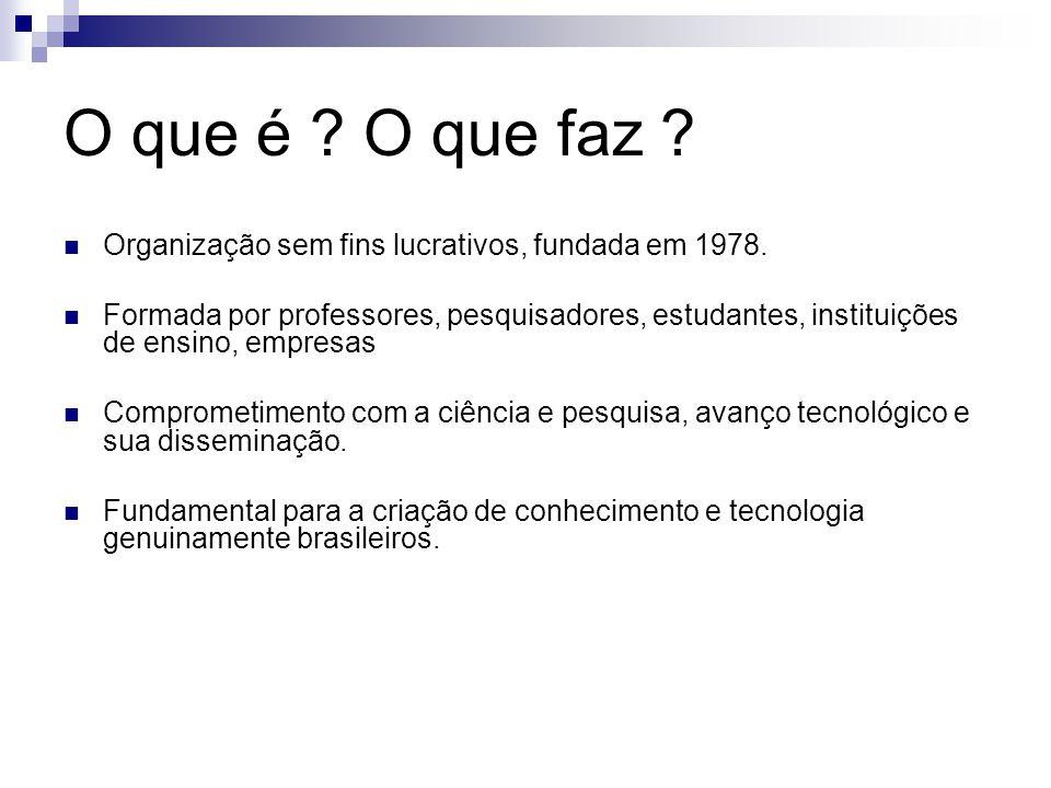 O que é ? O que faz ? Organização sem fins lucrativos, fundada em 1978. Formada por professores, pesquisadores, estudantes, instituições de ensino, em