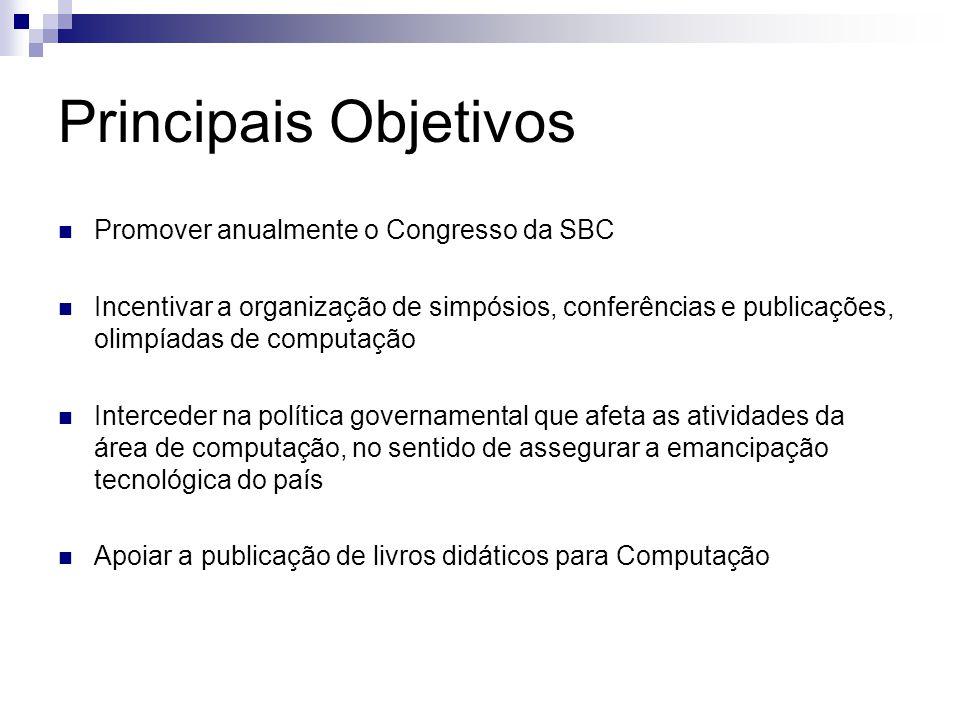 Principais Objetivos Promover anualmente o Congresso da SBC Incentivar a organização de simpósios, conferências e publicações, olimpíadas de computaçã