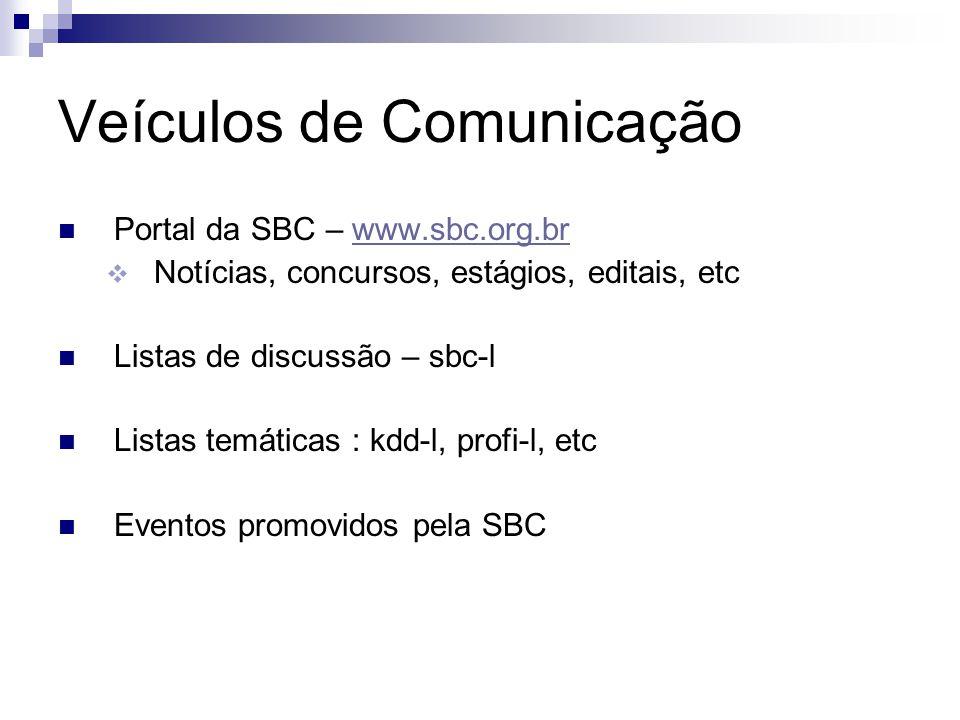 Veículos de Comunicação Portal da SBC – www.sbc.org.brwww.sbc.org.br Notícias, concursos, estágios, editais, etc Listas de discussão – sbc-l Listas te