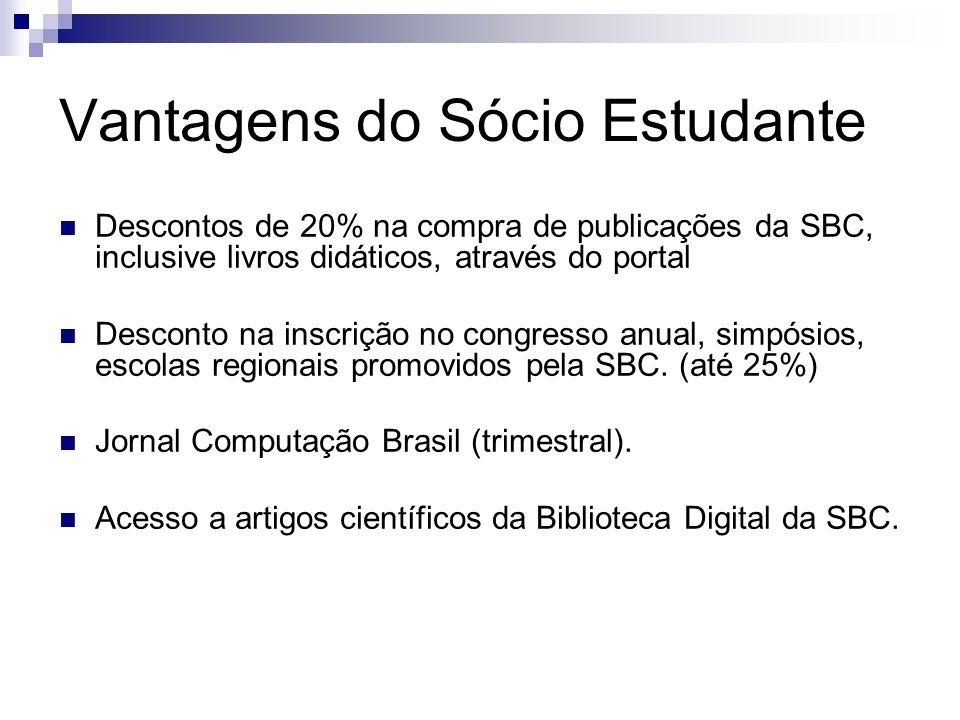 Vantagens do Sócio Estudante Descontos de 20% na compra de publicações da SBC, inclusive livros didáticos, através do portal Desconto na inscrição no