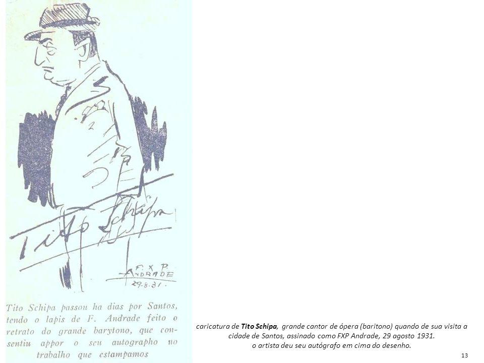 caricatura de Tito Schipa, grande cantor de ópera (baritono) quando de sua visita a cidade de Santos, assinado como FXP Andrade, 29 agosto 1931. o art