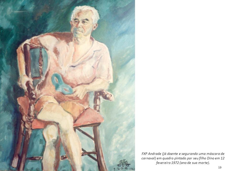 FXP Andrade (já doente e segurando uma máscara de carnaval) em quadro pintado por seu filho Dino em 12 fevereiro 1972 (ano de sua morte). 19