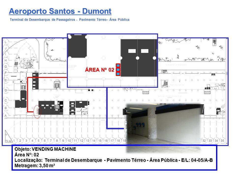 Aeroporto Santos - Dumont Terminal de Desembarque de Passageiros - Pavimento Térreo– Área Pública ÁREA Nº 02 Objeto: VENDING MACHINE Área Nº: 02 Local