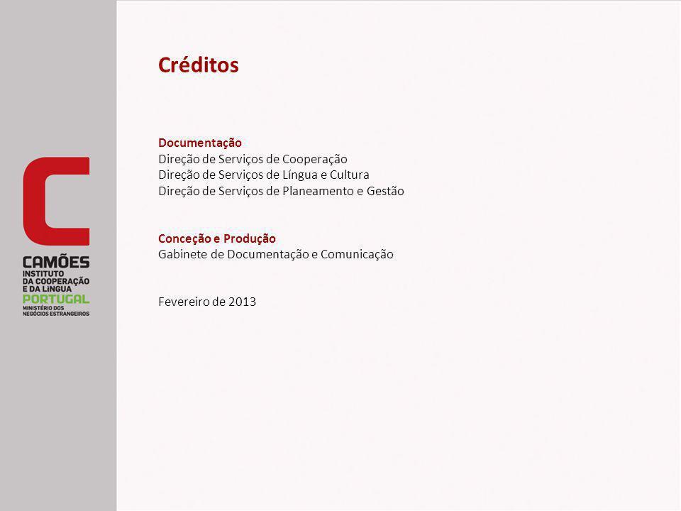Créditos Documentação Direção de Serviços de Cooperação Direção de Serviços de Língua e Cultura Direção de Serviços de Planeamento e Gestão Conceção e Produção Gabinete de Documentação e Comunicação Fevereiro de 2013