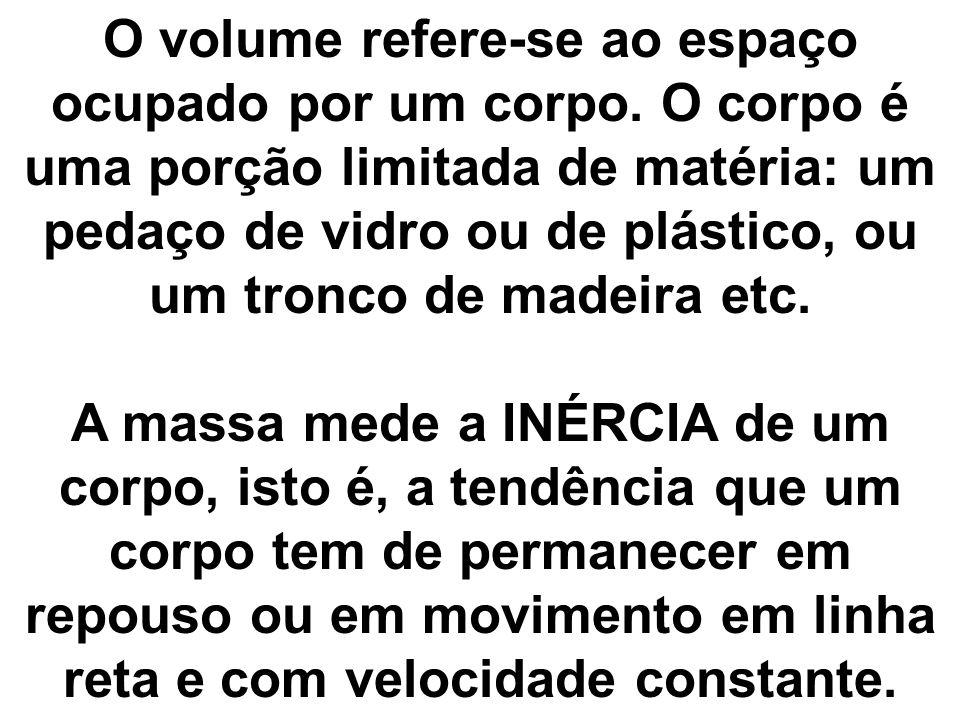 O volume refere-se ao espaço ocupado por um corpo. O corpo é uma porção limitada de matéria: um pedaço de vidro ou de plástico, ou um tronco de madeir