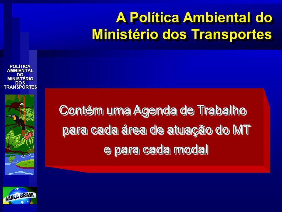 POLÍTICAAMBIENTALDOMINISTÉRIODOSTRANSPORTES A Política Ambiental do Ministério dos Transportes Contém uma Agenda de Trabalho para cada área de atuação