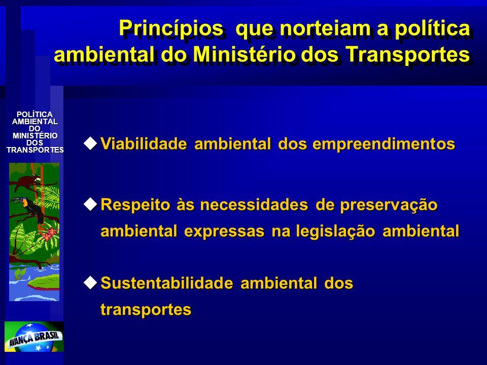 POLÍTICAAMBIENTALDOMINISTÉRIODOSTRANSPORTES uViabilidade ambiental dos empreendimentos Princípios que norteiam a política ambiental do Ministério dos