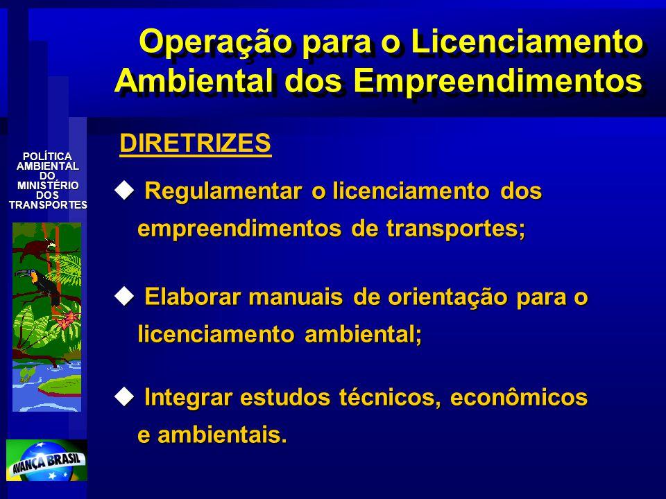 POLÍTICAAMBIENTALDOMINISTÉRIODOSTRANSPORTES Operação para o Licenciamento Ambiental dos Empreendimentos u Regulamentar o licenciamento dos empreendime