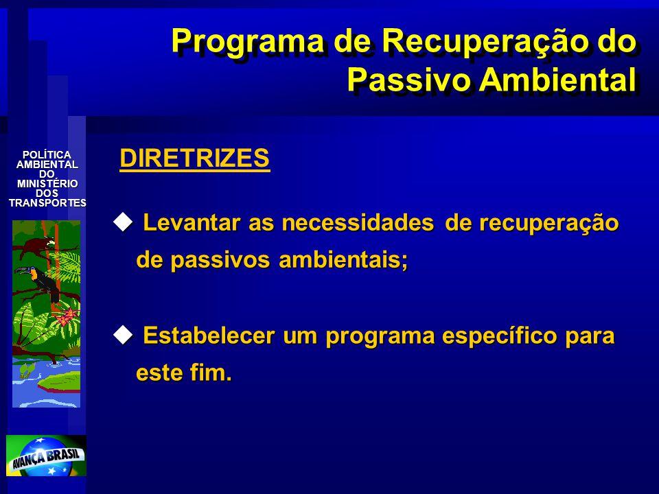POLÍTICAAMBIENTALDOMINISTÉRIODOSTRANSPORTES Programa de Recuperação do Passivo Ambiental u Levantar as necessidades de recuperação de passivos ambient