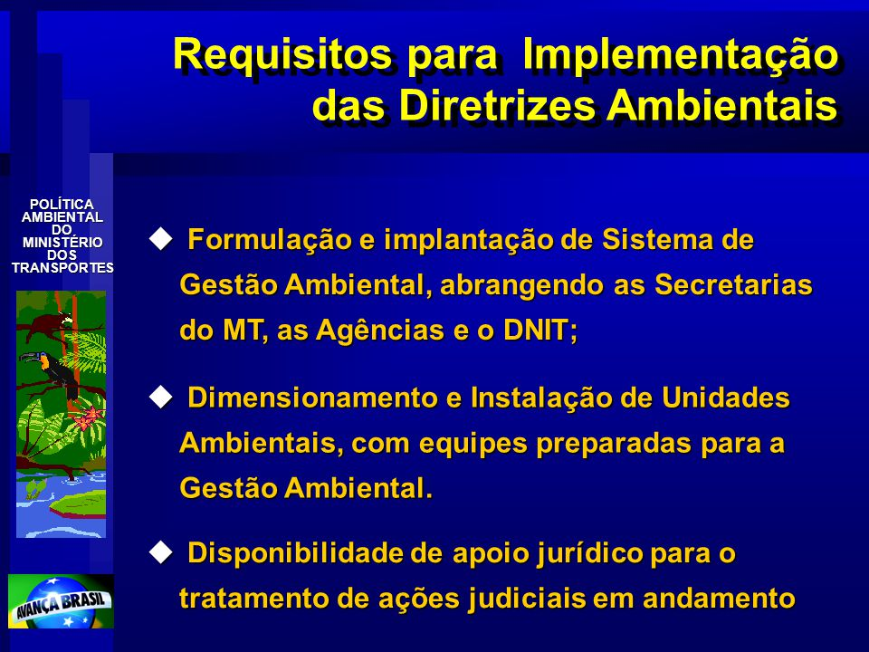 POLÍTICAAMBIENTALDOMINISTÉRIODOSTRANSPORTES Requisitos para Implementação das Diretrizes Ambientais u Formulação e implantação de Sistema de Gestão Am