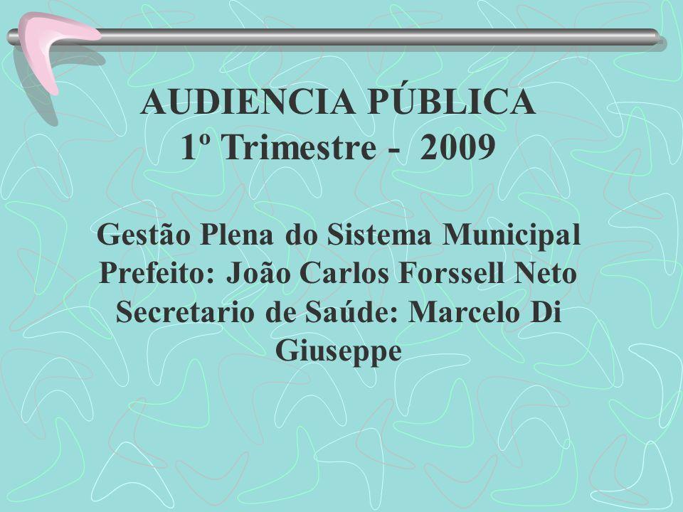 AUDIENCIA PÚBLICA 1º Trimestre - 2009 Gestão Plena do Sistema Municipal Prefeito: João Carlos Forssell Neto Secretario de Saúde: Marcelo Di Giuseppe