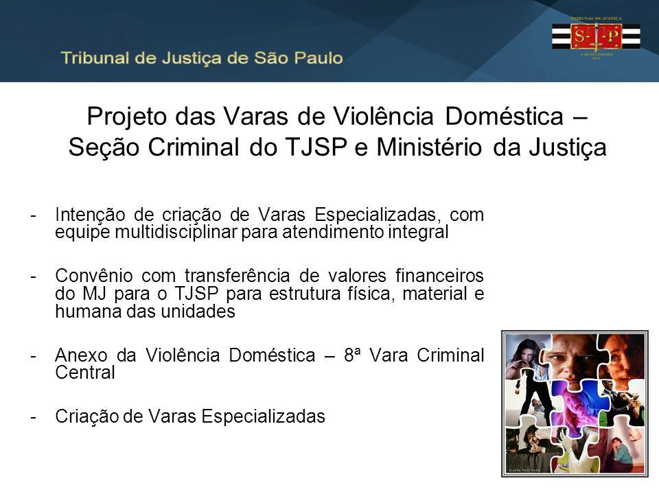 Projeto das Varas de Violência Doméstica – Seção Criminal do TJSP e Ministério da Justiça -Intenção de criação de Varas Especializadas, com equipe mul