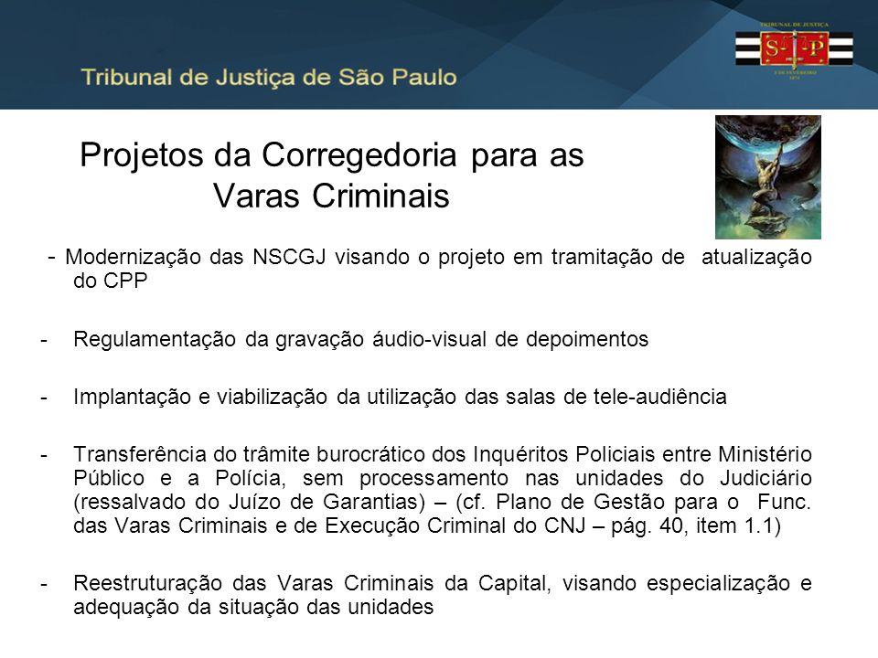 Projetos da Corregedoria para as Varas Criminais - Modernização das NSCGJ visando o projeto em tramitação de atualização do CPP -Regulamentação da gra
