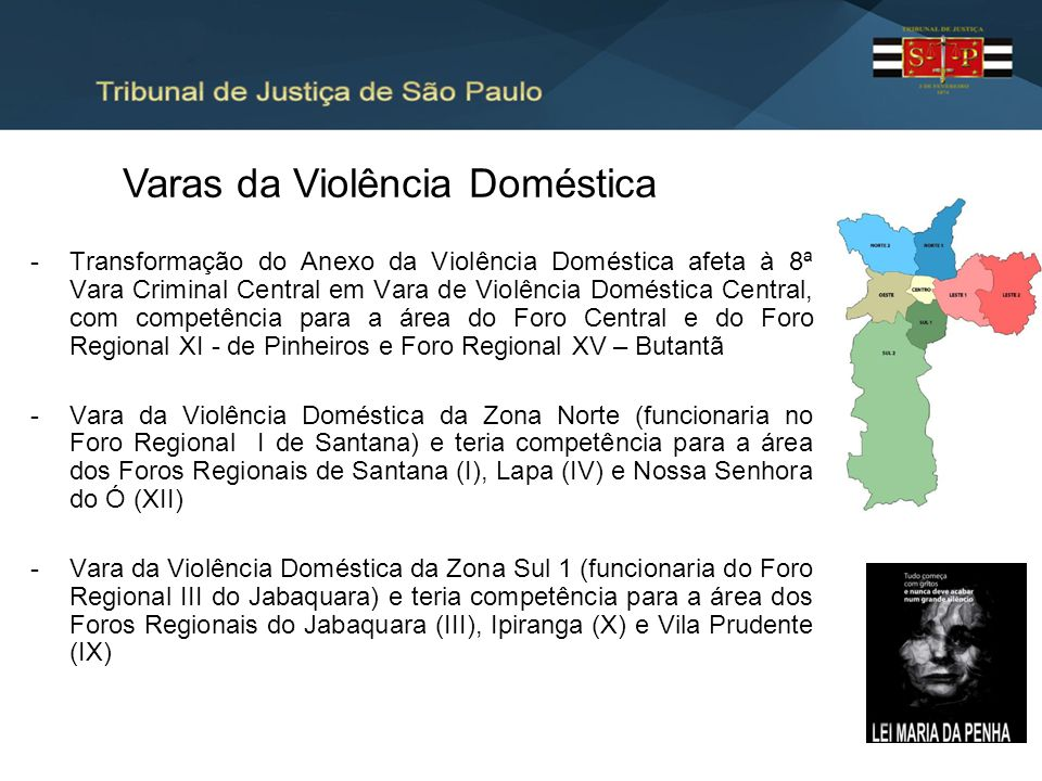 -Transformação do Anexo da Violência Doméstica afeta à 8ª Vara Criminal Central em Vara de Violência Doméstica Central, com competência para a área do