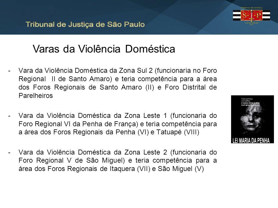 -Vara da Violência Doméstica da Zona Sul 2 (funcionaria no Foro Regional II de Santo Amaro) e teria competência para a área dos Foros Regionais de San