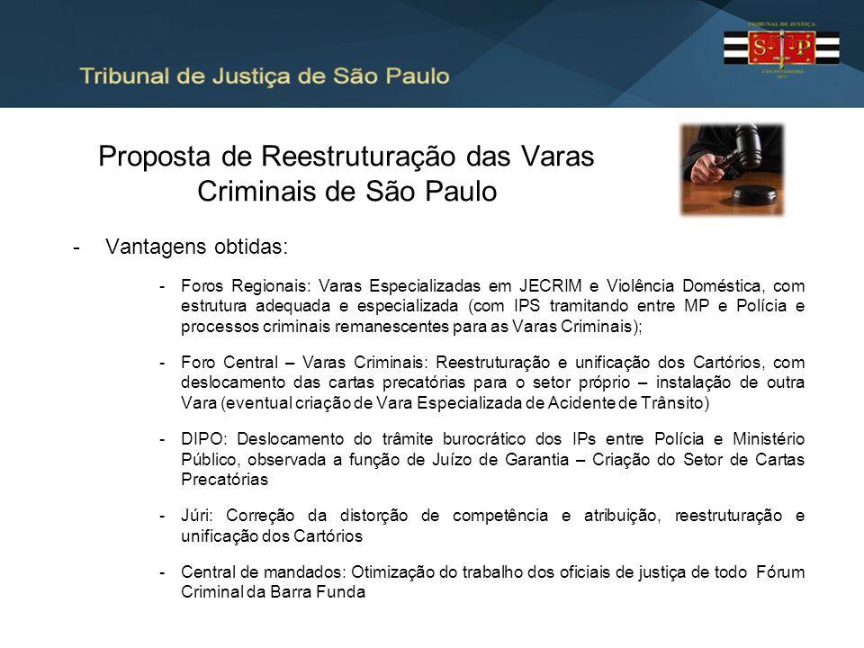 Proposta de Reestruturação das Varas Criminais de São Paulo -Vantagens obtidas: -Foros Regionais: Varas Especializadas em JECRIM e Violência Doméstica
